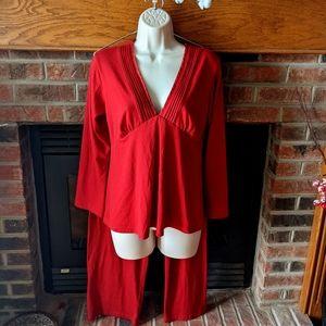 Jones New York red 3/4 sleeve pajamas size M